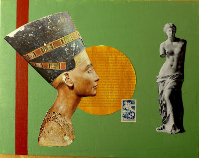 Marcuse nefertiti venus de milo flag postage stamp france french liberty leading the people Dada Fluxus collage