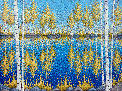An Autumn Day in Grand Marais painting by artist Aaron Kloss, fall birch tree painting, gold birch trees, autumn lake painting, pointillism