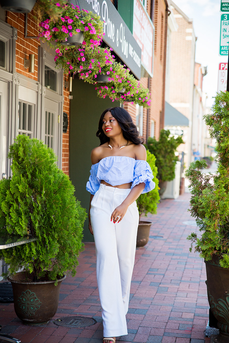 Off shoulder, high waist pants, www.jadore-fashion.com