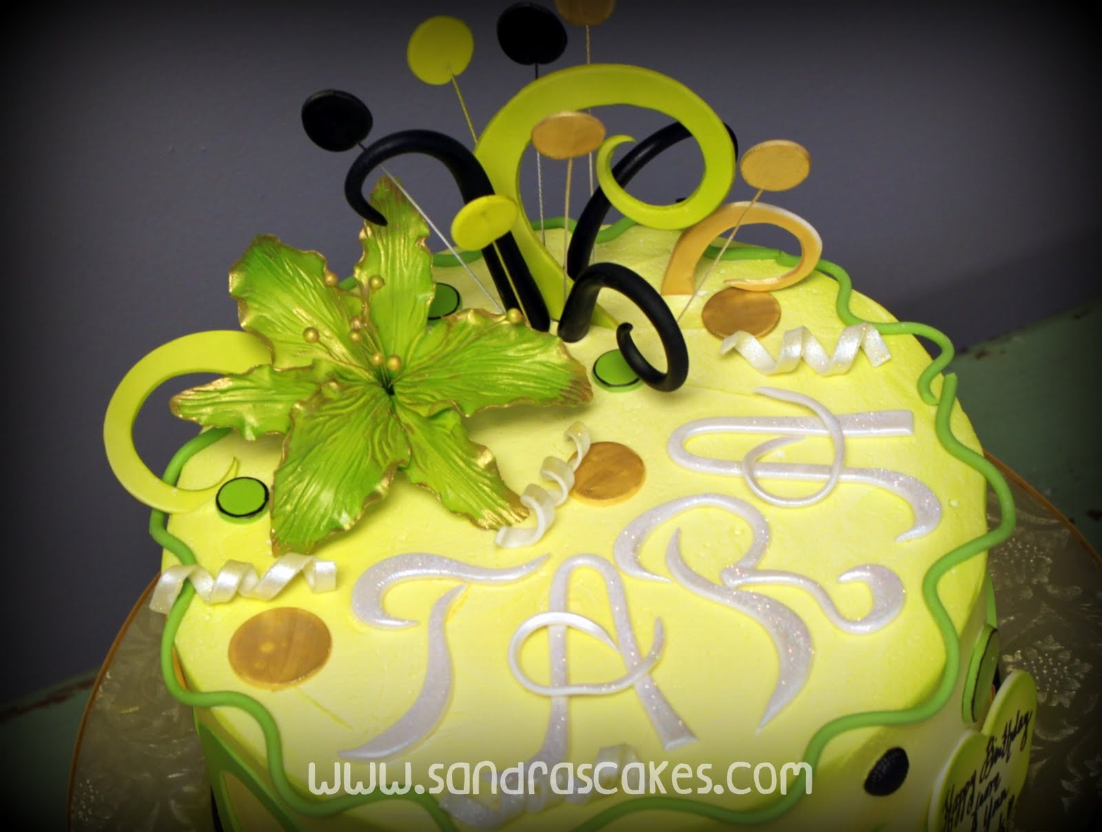Lime Green And Gold Birthday Cake