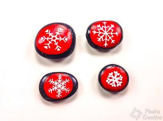 piedra, pintura, copos de nieve, navidad