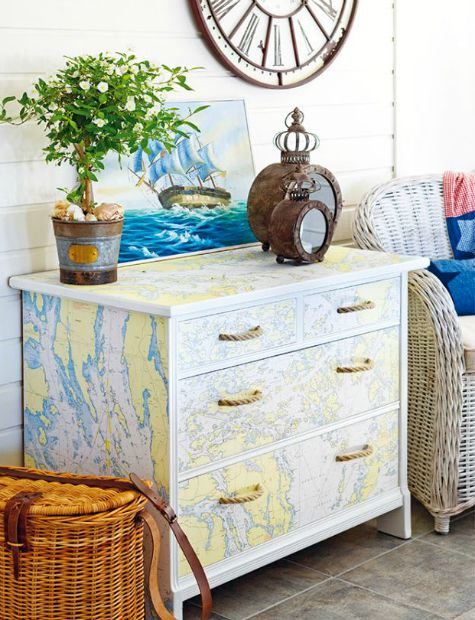Dresser White Chest of Drawers with Map Plants Wicker Furniture Nautical Clock Beach Inspired Theme