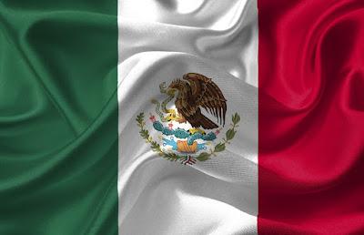 Flaga meksyku z opuncją w tle