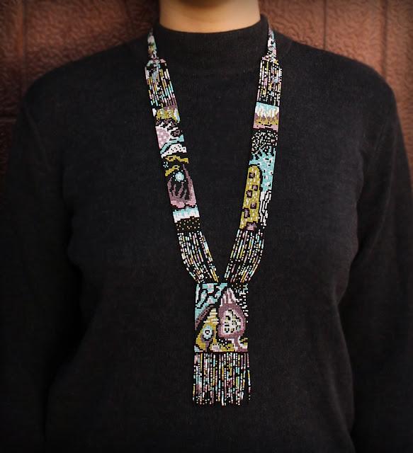 купить необычное украшение на шею гердан из бисера в интернет магазине анабель