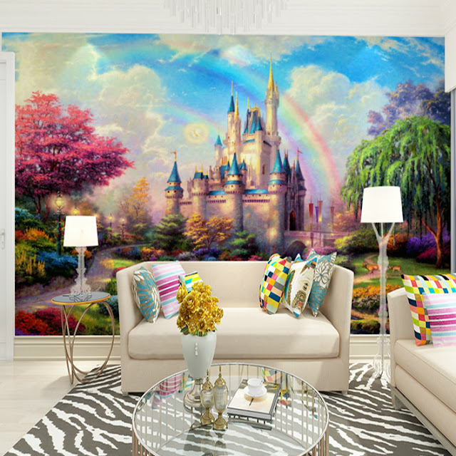 Rainbow wall mural Castle Rainbow murals for walls 3d photo mural wallpaper for girls room kids childrens bedroom