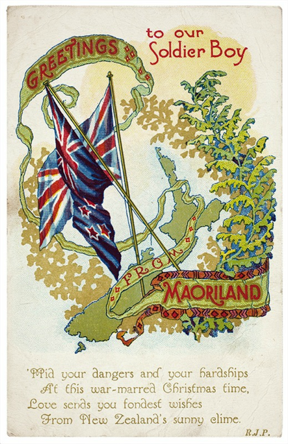 New Zealand chrstimas card WWI from Maoriland. Laser Kiwi. marchmatron.com.