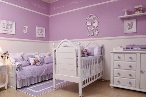 Dormitorio para bebé blanco lila