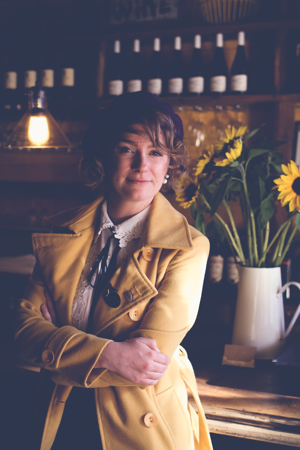 @findingfemme visits Cliffy's in Daylesford in mustard and plum outfit