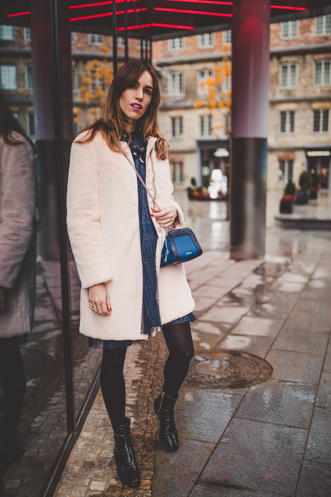 baby pink teddy coat outfit classy fall