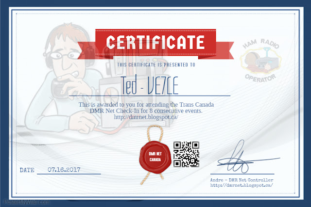 Congratulations to Ted VE7LE Certificate for 8 consecutive DMR
