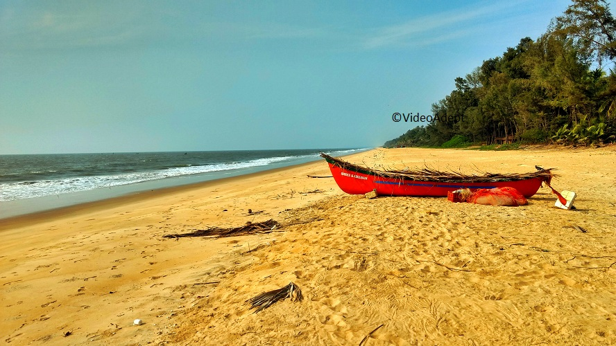 red boat at seashore