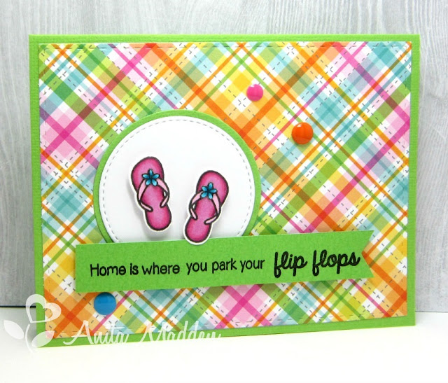 Sunny Studio Stamps Island Getaway Summer Flip Flops Card by Anita Madden.