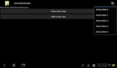 Action Items on Action Bar