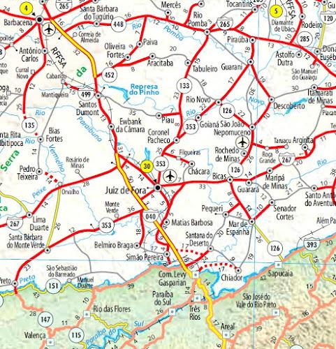 Mapa da região de Juiz de Fora - MG