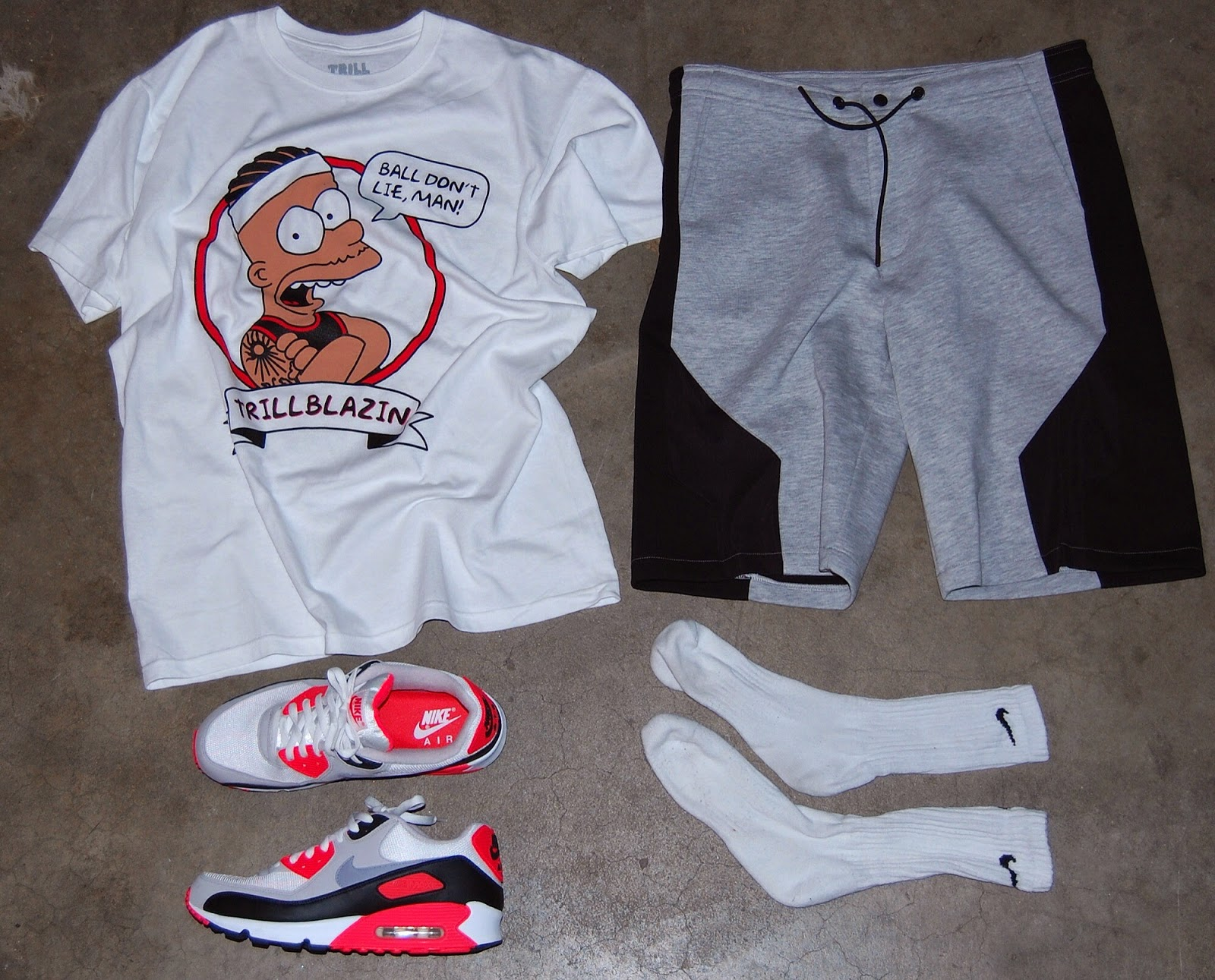 best sneakers 3a0da 2ca38 TRILLBLAZIN (tattoo guy) shirt, ASOS sweat shorts, Nike Air Max 90