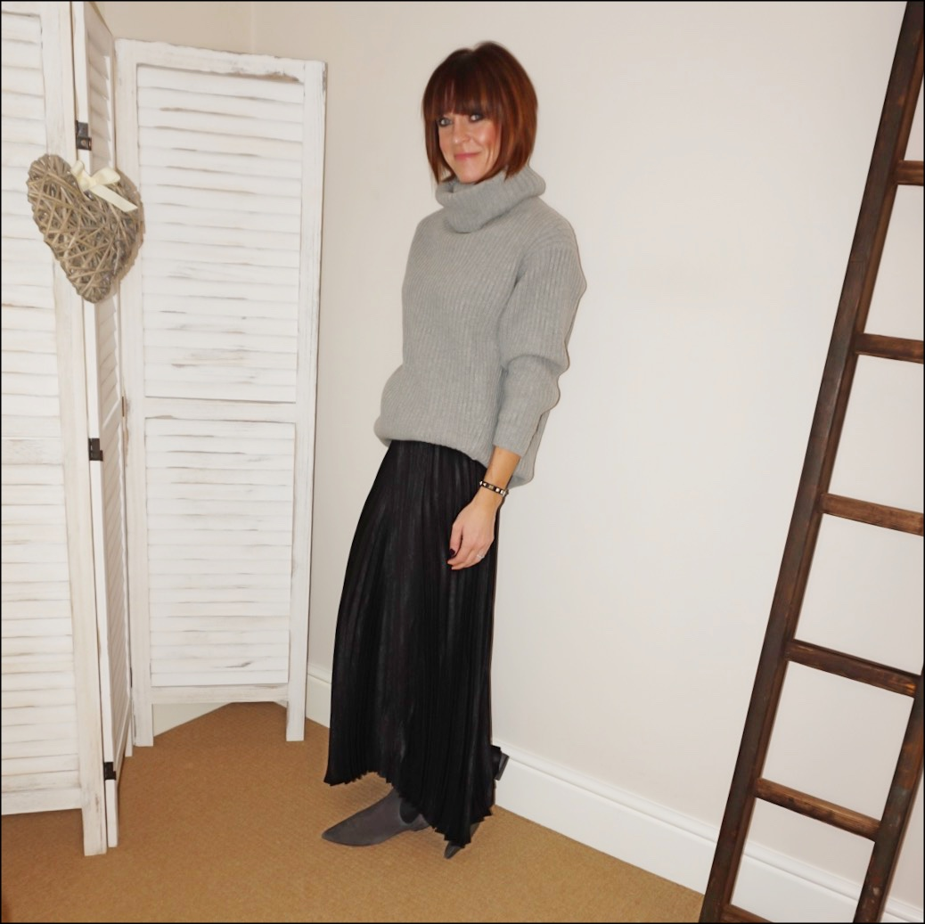 my midlife fashion, acne studios chunky ribbed roll neck jumper, jd williams sunray pleated maxi skirt, madeleine soft suede chelsea boots