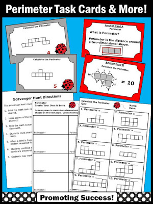 perimeter task cards worksheets games 3rd 4th grade activities