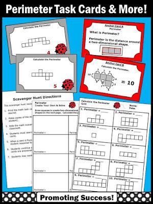 perimeter task cards worksheets games 3rd 4th grade activities