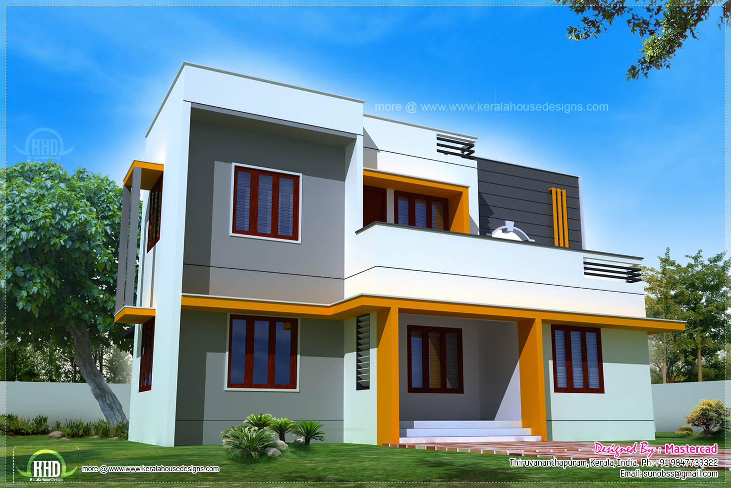 1400 modern contemporary home exterior kerala for South indian small house designs
