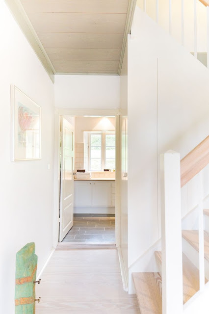 Hallway and bath in modern European farmhouse on Hello Lovely Studio