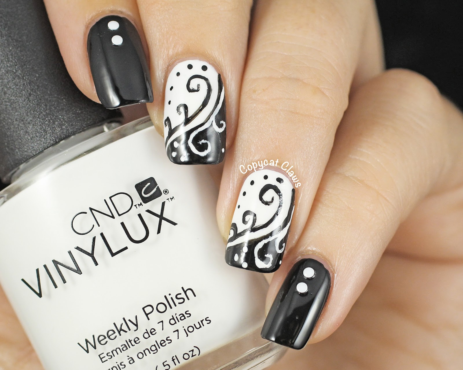 Copycat Claws: 31DC2014 Day 7 - Black and White Swirls