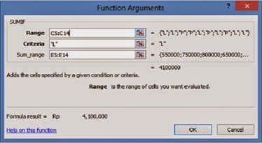 function argument SUMIF