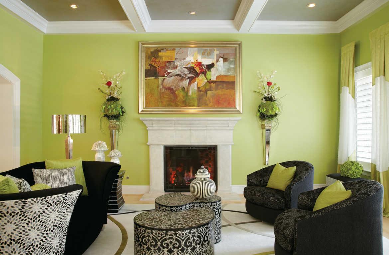 Contoh Dekorasi Ruang Tamu Berwarna Hijau