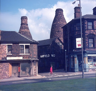 Longton Bottle Ovens Garfield Works from St James Church Photo: Terry Woolliscroft Collection   Date: Sept 1972