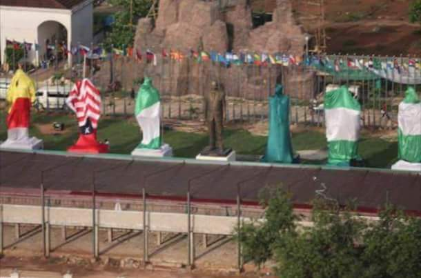 The covered statues beside Jacob Zuma's own... who could they be? Robert Mugabe? Buhari? Okorocha?