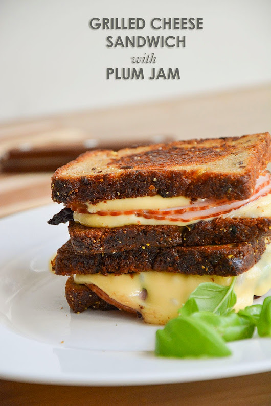 Grilled Cheese Sandwich with plum jam