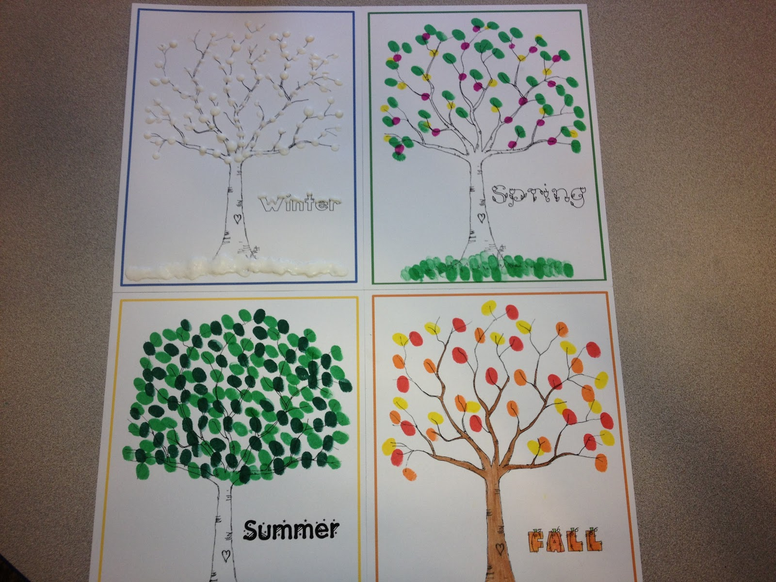 Adventures In Tutoring And Special Education 4 Seasons Art With Fingerprints