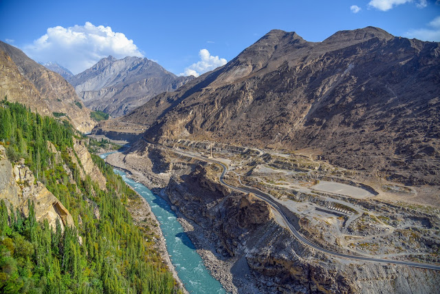 Karkoram Highway passing through the Hunza Valley. In this picture taken from Baltit Fort the Hunza River and Karakorum mountains can be seen.