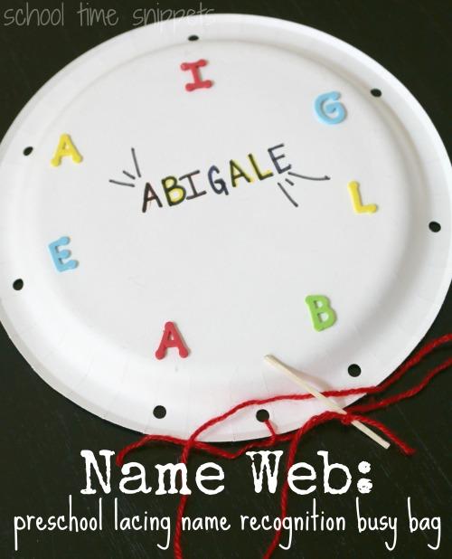 paper plate name recognition preschool idea