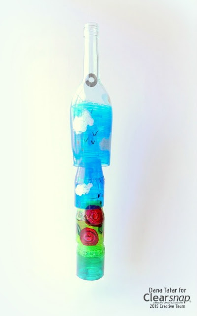 Glass Graffiti Glass Bottle Wind Chime by Dana Tatar for Clearsnap