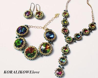 bransoletka z kryształkami,swarovski,koraliki, kolczyki z kryształkami,naszyjnik z kryształkami