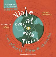 """Portada del libro """"Viaje al centro de la tierra"""", de Julio Verne, adaptado por Antonis Papatheodoulou."""