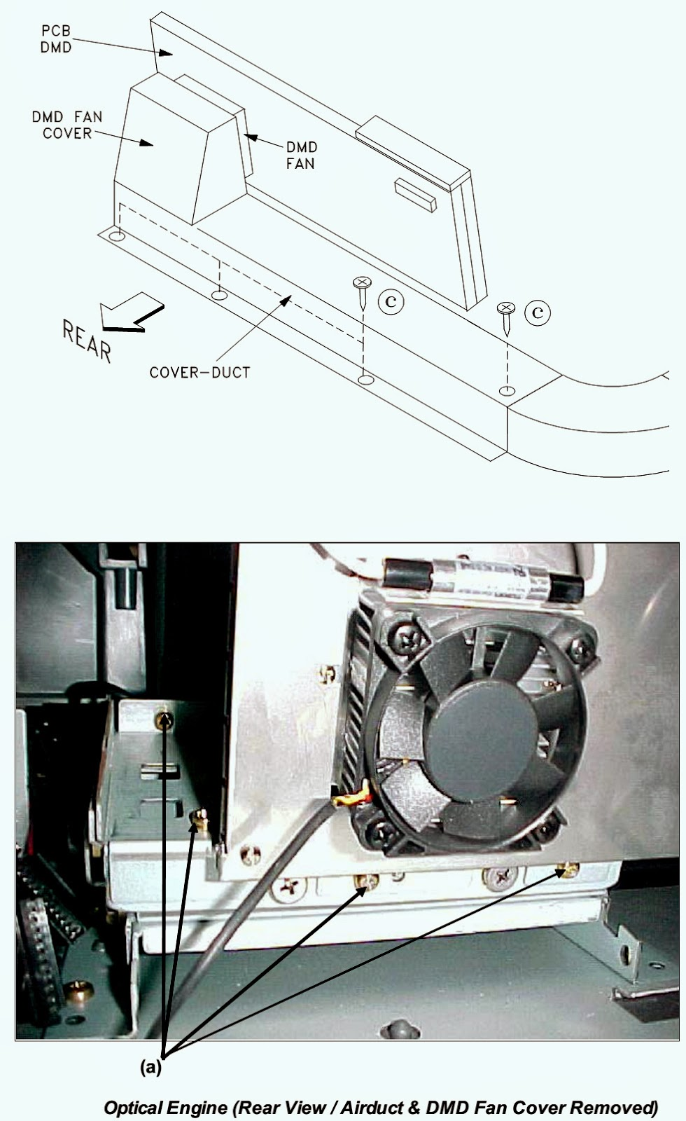 medium resolution of slide the optical engine lamp cartridge housing towards the rear to remove from the tv