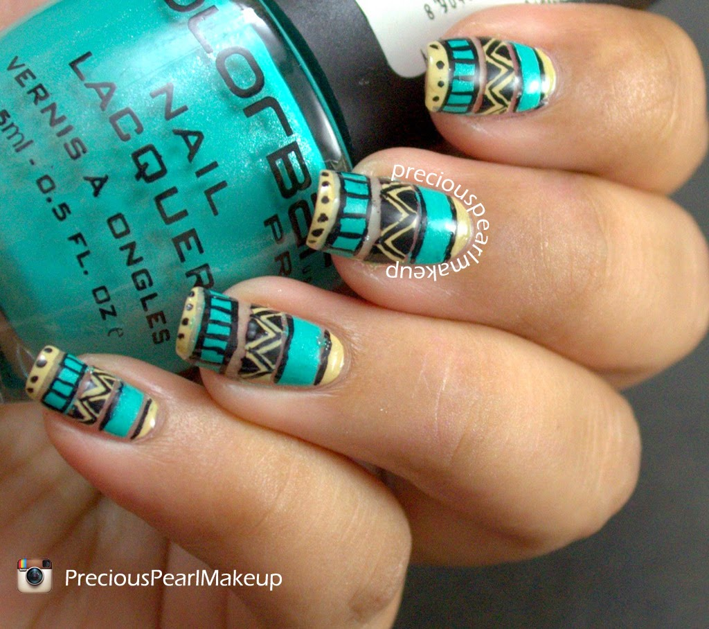 Tribal Nail Art: Preciouspearlmakeup: Easy Tribal Nails And Tutorial