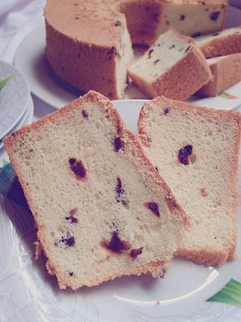 Resepi Kek Chiffon Gebu Lembut Dengan Gabungan Halwa Roselle Yang Masam Manis