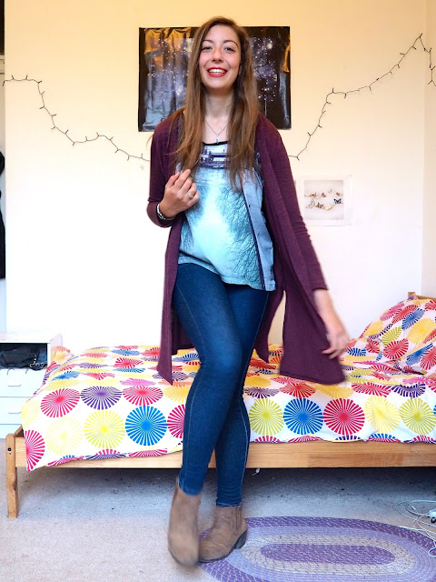 Brunching - outfit of long purple knit cardigan, river reflection print top, blue skinny jeans & brown suede ankle boots