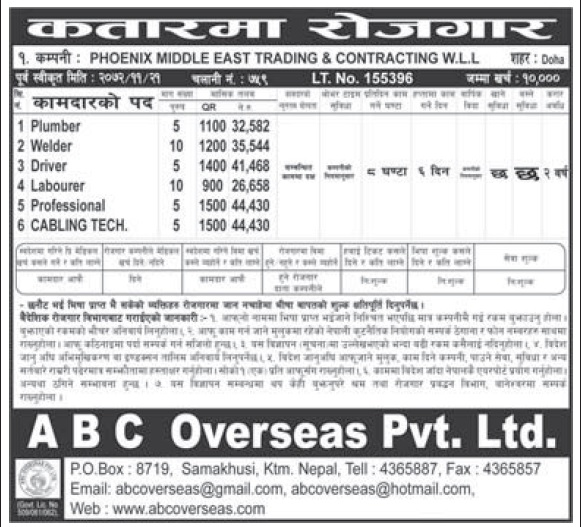 Jobs in Qatar for Nepali, Salary Rs 44,430