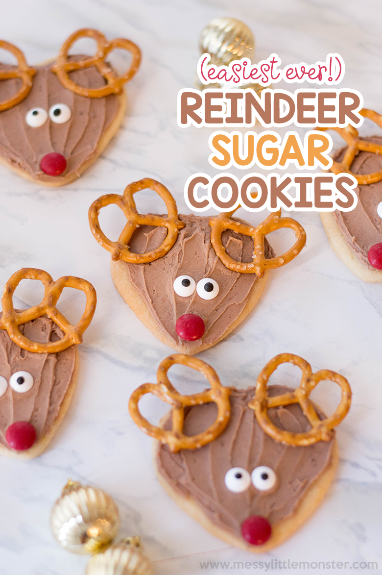 Reindeer cookies made from an easy sugar cookie recipe. Fun christmas cookies or even cookies for santa!