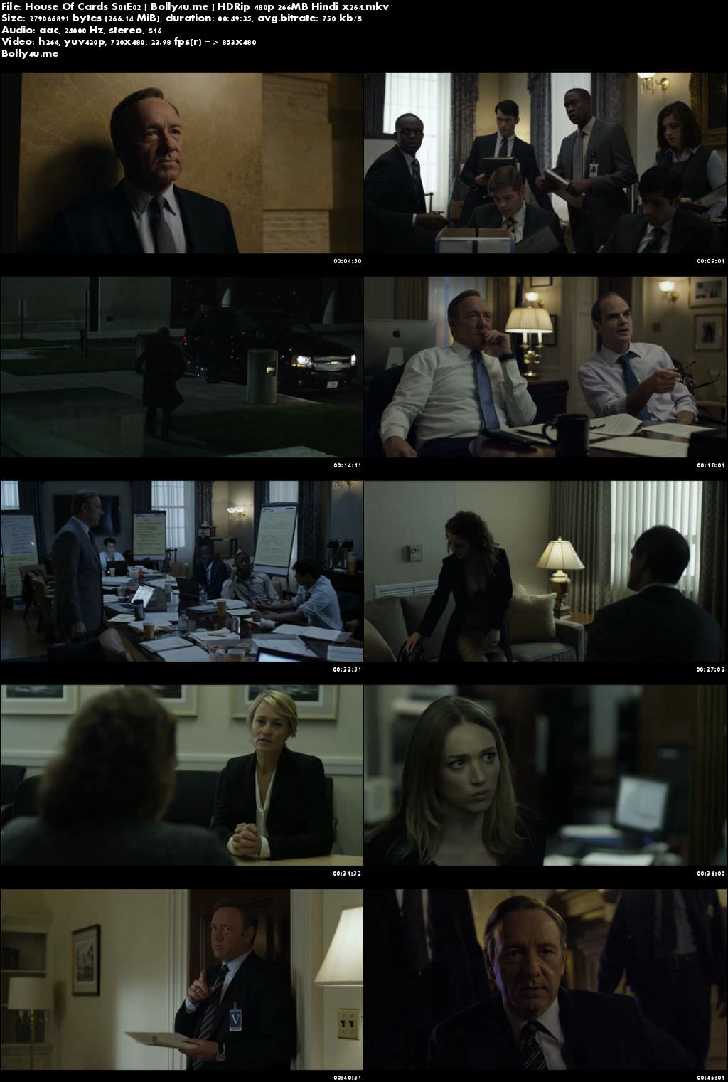 House Of Cards S01E02 HDRip 250MB Hindi Dubbed 480p Download