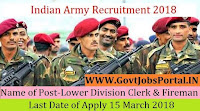 Indian Army Recruitment 2018 – 25 Lower Division Clerk & Fireman