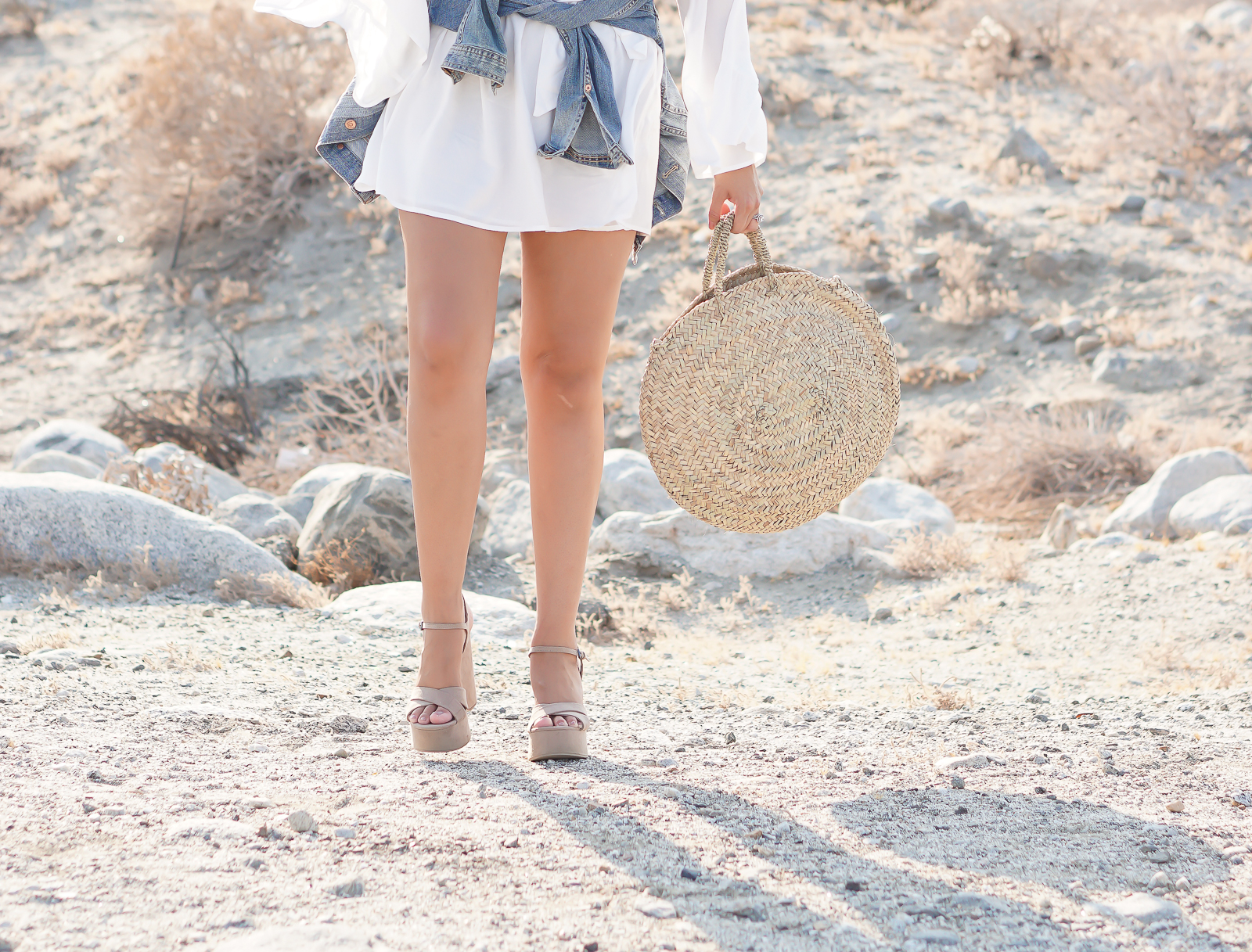 Fashion, SheIn Review, Travel, SheIn White Off the Shoulder Dress, H&M Jean Jacket, Palm Springs Desert, Desert Photography, Desert Fashion Photography, Quay x Desi Perkins Sunglasses, Quay Australia High Key Sunglasses, Round Large Wicker Basket Bag, French Baskets, Zara Nude Wedges