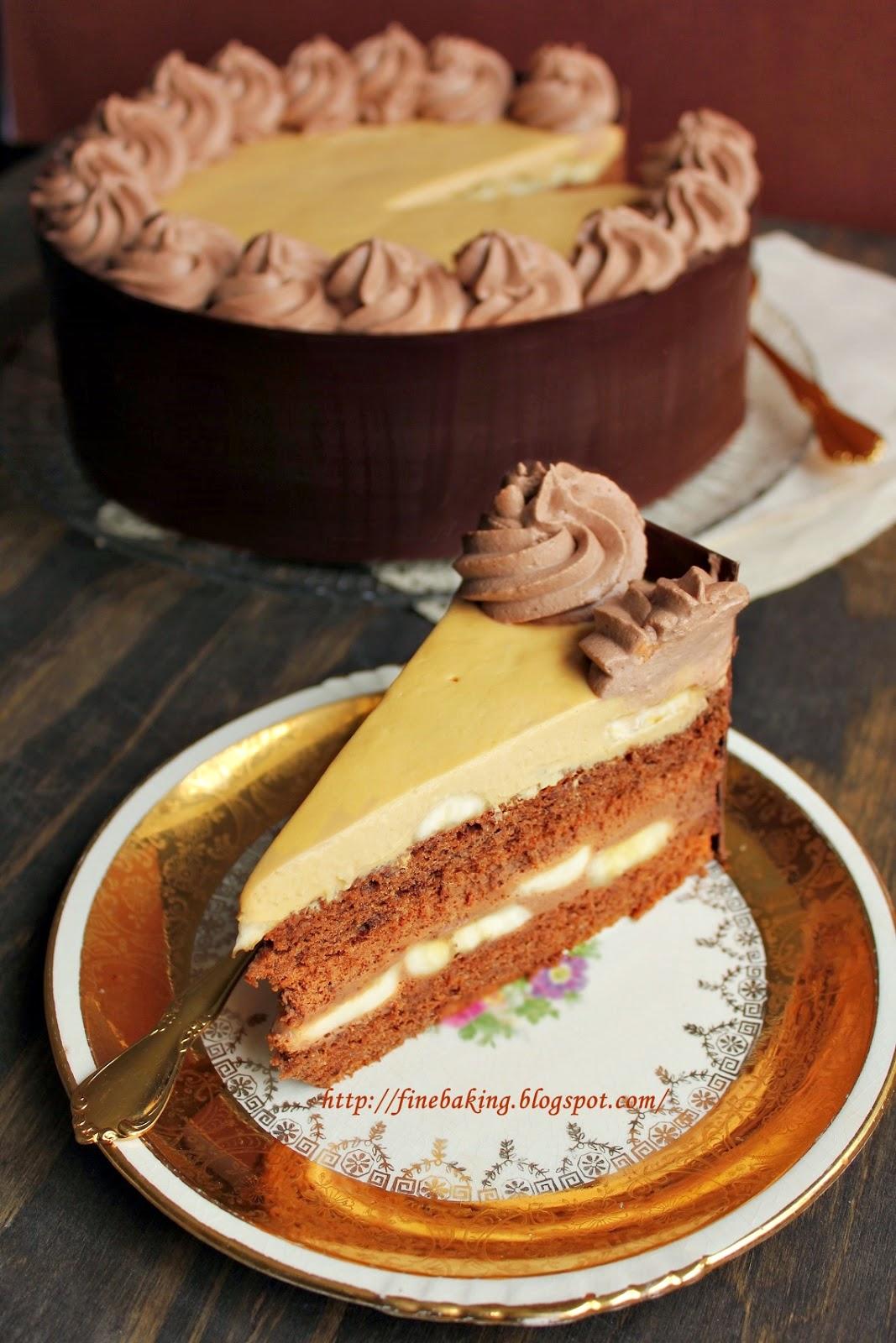 Chocolate Dust Chocolate Caramel Banana Mousse Cake