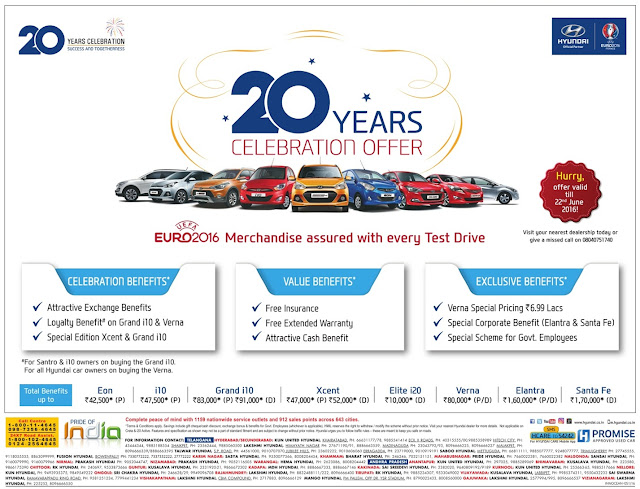 Hyundai 20 years celebrations amazing offers | June 2016 discount offers