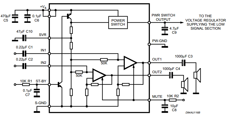 20w amplifier schematic with mute