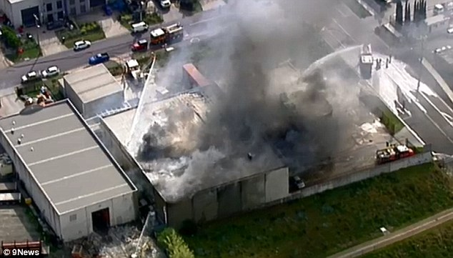 Huge fire engulfs nut roasting factory in Melbourne as 10 workers are evacuated