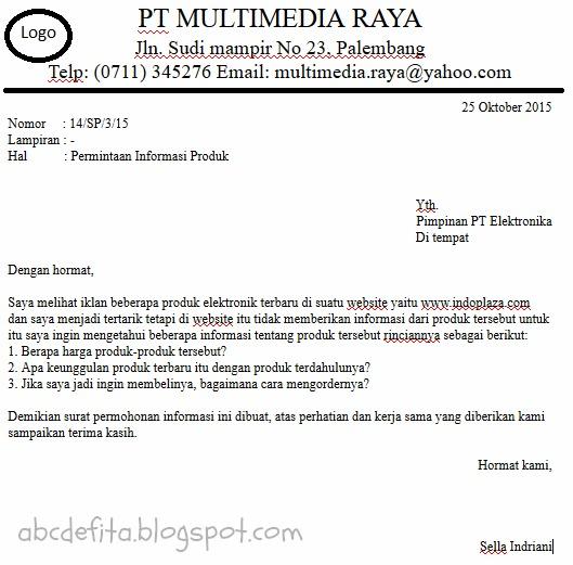 surat permintaan informasi write and imagine